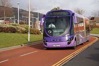 First Cymru - Wright StreetCar operating an Ftrmetro Swansea journey in February 2014