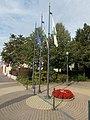 Flagpoles on Dozsa Square, 2016 Dunakeszi.jpg