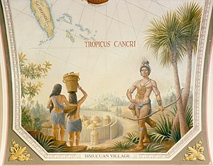 Timucua - Timucuan village and inhabitants depicted on a painting in the United States Capitol