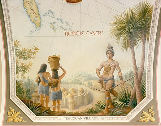 Timucuan village and inhabitants depicted on a painting in the United States Capitol Flickr - USCapitol - Timucuan Village.jpg
