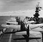 Flight deck of USS Santee (CVE-29) in November 1942.jpg