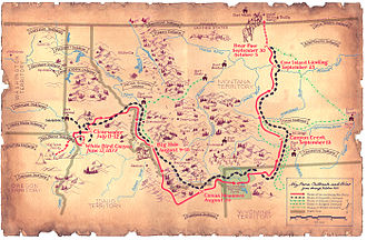 Chief Joseph - Map of the flight of the Nez Perce and key battle sites
