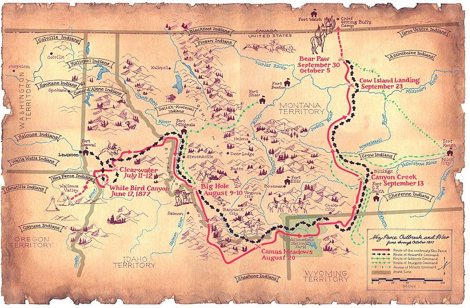 Flight of the Nez Perce-1877-map