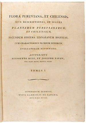 Hipólito Ruiz López - Title page, Flora Peruviana, et Chilensis