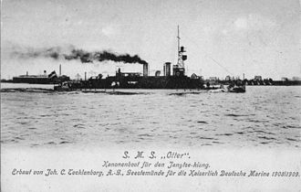 River gunboat - Imperial German Navy river gunboat SMS Otter ca. 1909 during trials on the Weser