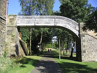 Borders Railway - Footbridge over the former Waverley Route right-of-way in Galashiels. Track has since been relaid under the bridge.