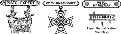 Former US Army Pistol Marksmanship Badges