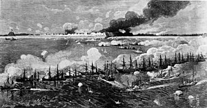 Second Battle of Fort Fisher - Ships bombarding Fort Fisher prior to the ground assault