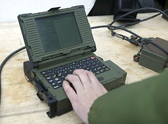 Joint Forward Air Controller Training and Standards Unit - An Improved Data Modem computer being used in a JFACTSU training course in 2004