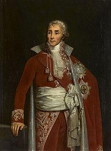 Portrait de Fouché en pied, la tête tournée vers la droite, la main appuyée sur une balustrade. Il est vêtu d'un habit somptueux, rouge et or.