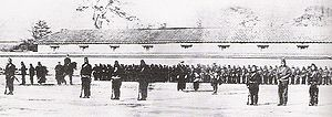 Imperial Japanese Army - Training of the Shogunate troops by the first French military mission to Japan (1867–68) just before the Boshin War (1868–1869), which led to the Meiji Restoration.