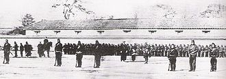 French military mission to Japan (1867–68) - Training of Japanese Bakufu troops by the French Military Mission to Japan. 1867 photograph.