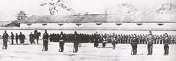 Training of the Shogunate troops by the first French Military Mission to Japan in 1867, just before the Boshin war (1868-1869) which led to the Meiji restoration.
