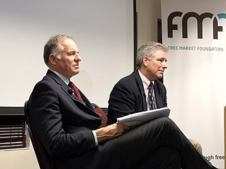 Free Market Foundation - Frans Rautenbach (left) and Daniel J. Mitchell (right) speaking at the FMF on the Rule of Law on 14 November 2018.
