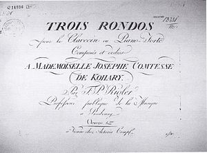 Franz Paul Rigler - Title-page of Franz Paul Rigler's Three Rondos (1790) - the only known extant copy of the original edition
