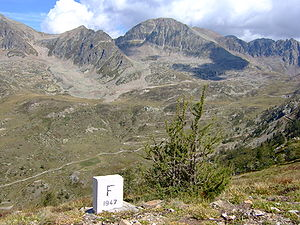 France–Italy border - A marker on the French side of the border in Alpes-Maritimes.