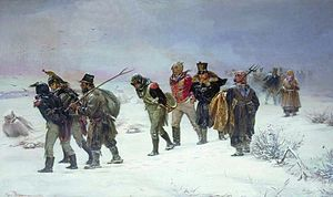 1812 Overture - A scene depicting the French retreat from Russia in 1812, painting by Illarion Pryanishnikov (1874)