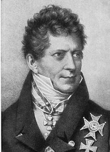 Black and white drawing of Friedrich von Gentz