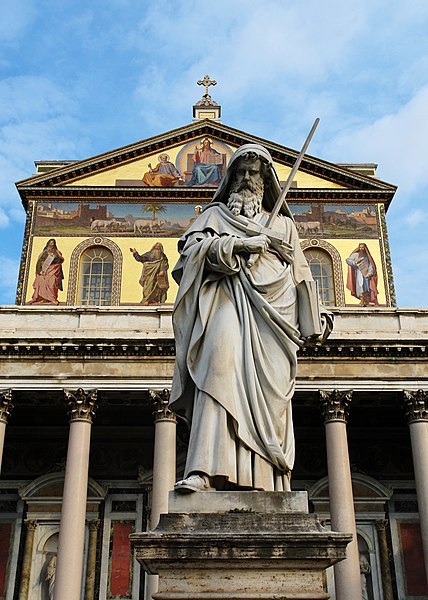 File:Front of the Basilica of Saint Paul Outside the Walls - Roma - Italy.jpg