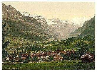 Frutigen - Photochrome postcard of Frutigen