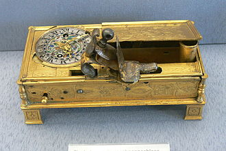 Flintlock mechanism - A clock, fitted with a flintlock to light a candle, c.1550. Germanisches Nationalmuseum, Nuremberg
