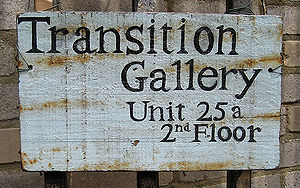 Transition Gallery - The sign outside the gallery