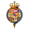 Garter encircled arms of Alfonso XII, King of Spain.png