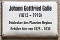 Gedenktafel Kirchplatz (Wittenberg) Johann Gottfried Galle.jpg