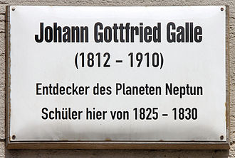 Johann Gottfried Galle - Memorial plaque in Wittenberg