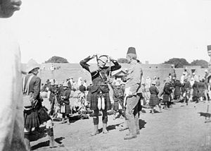 Queen's Own Cameron Highlanders - The Queen's Own in pith helmets and kilts during the 1898 offensive of the Mahdist War in Sudan.