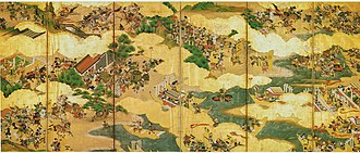 Military history of Japan - Scene of the Genpei War (17th century screen).