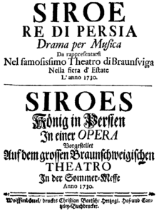 Georg Friedrich Händel - Siroe re di Persia - titlepage of the libretto - Braunschweig 1730.png