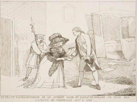 "A depiction of the 1786 assault on George III by Margaret Nicholson. The King took pity on her, shouting out: ""The poor creature is mad, do not hurt her. She has not hurt me."" George III assasination attempt.png"