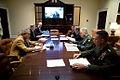 George W. Bush speaks during teleconference in Roosevelt Room.jpg