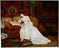 Georges Croegaert - Lady in White Dress on Sofa.jpg