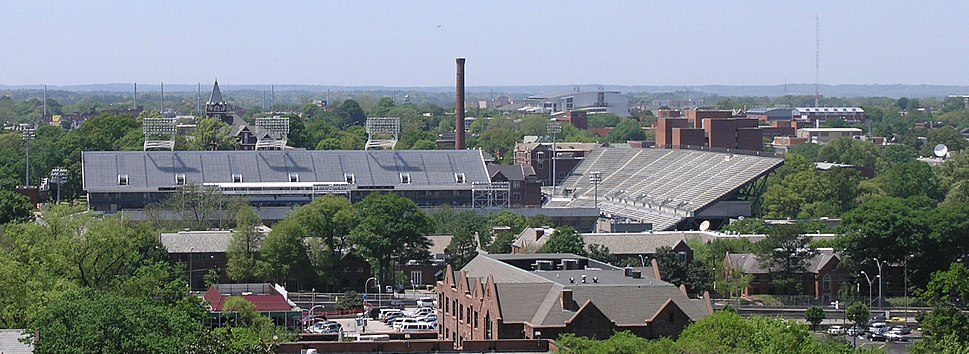 Georgia Tech's East Campus and Central Campus as seen from an elevated point near Peachtree Street and North Avenue. Bobby Dodd Stadium is in the foreground, Tech Tower and Junior's Grill are in the background to the left, and the Georgia Tech Campus Recreation Center is in the background and to the right. The Varsity is in the immediate foreground between the viewer and Bobby Dodd Stadium.