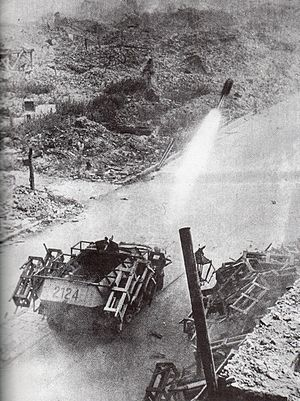 Wurfrahmen 40 - Sdkfz 251-mounted Wurfrahmen in action against Polish positions during the Warsaw Uprising