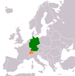 Map indicating locations of Germany and Switzerland