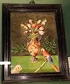 Giovan battista stefaneschi (attr.), vaso in pietre dure con fiori, pappagallo e cagnolino, 1600-50 ca..JPG