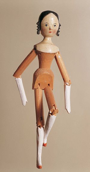 Peg wooden doll - Peg wooden doll from Val Gardena, 1850