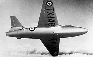 Gloster E.1/44 - TX148, the third prototype on a test flight, c. 1949