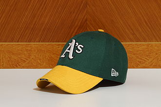 Baseball cap - A typical baseball cap; this one is an Oakland Athletics cap.