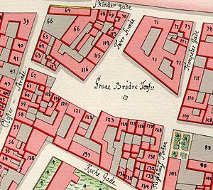 Gråbrødretorv - Gråbrødretorv (then spelled Graae Brødre Torv) on Gedde's map from 1757