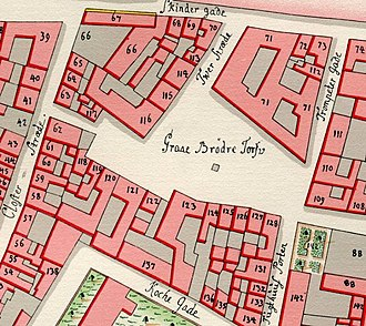 Gråbrødretorv - Gråbrødretorv (then spelled Graae Brødre Torv) on Gedde's map from 1757