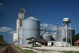 Royal, Illinois - Grain elevators and water tower in Royal, IL