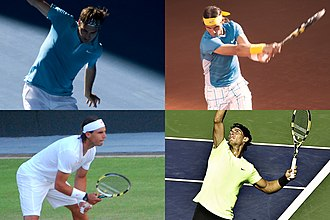 2010 ATP World Tour - Grand Slam men's singles champions of 2010: Australian Open champion Roger Federer (top left), and French Open, Wimbledon and US Open triple winner Rafael Nadal (top right, bottom left and right).