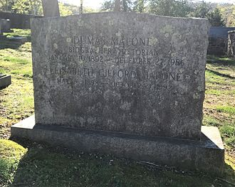 Dumas Malone - Malone's gravestone at the University of Virginia Cemetery in Charlottesville, Virginia.