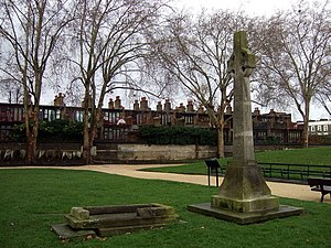 Charles Dibdin - Celtic cross memorial to Dibdin, erected by public subscription in 1889, after his original tomb collapsed, in St Martin's Gardens, Camden Town