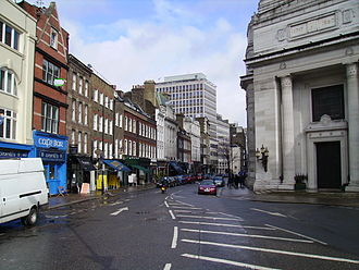 Great Queen Street - Great Queen Street, looking east. Freemasons' Hall is visible on the right.