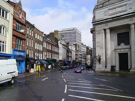 Great Queen Street, looking east. Freemasons' Hall is visible on the right. Great Queen Street.jpg